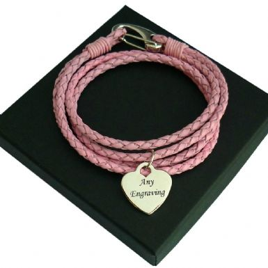 Engraved Heart Memorial Bracelet, Pink Leather | Someone Remembered